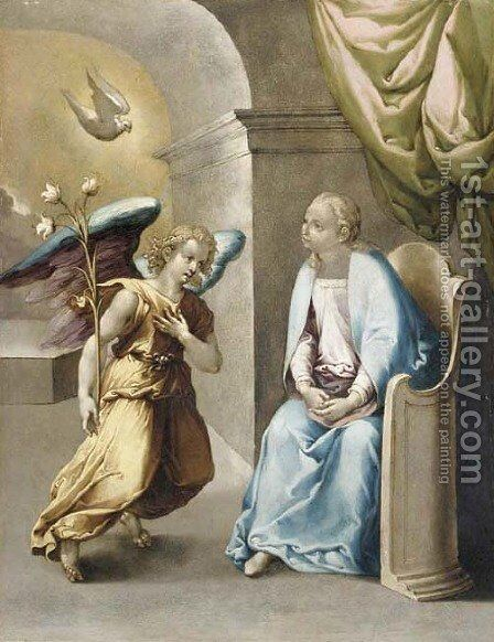 The Annunciation by (after)  Giovanni Battista (Il Malosso) Trotti - Reproduction Oil Painting
