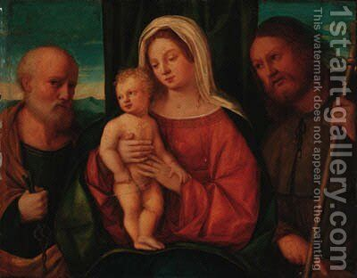 The Madonna and Child with Saint Peter and Saint Roch by (after) Giovanni Bellini - Reproduction Oil Painting