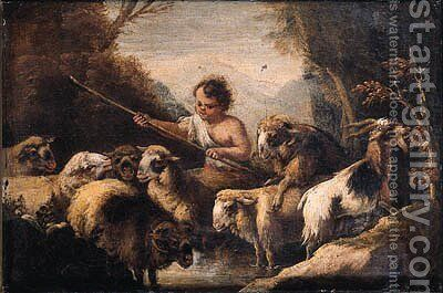 A shepherd boy watering sheep in a mountainous landscape by (after) Giovanni Benedetto Castiglione - Reproduction Oil Painting