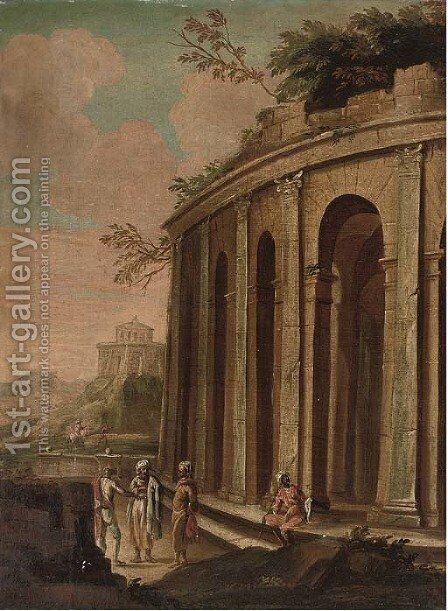 A landscape with Orientals by a classical ruin, travellers beyond by (after) Giovanni De Momper - Reproduction Oil Painting