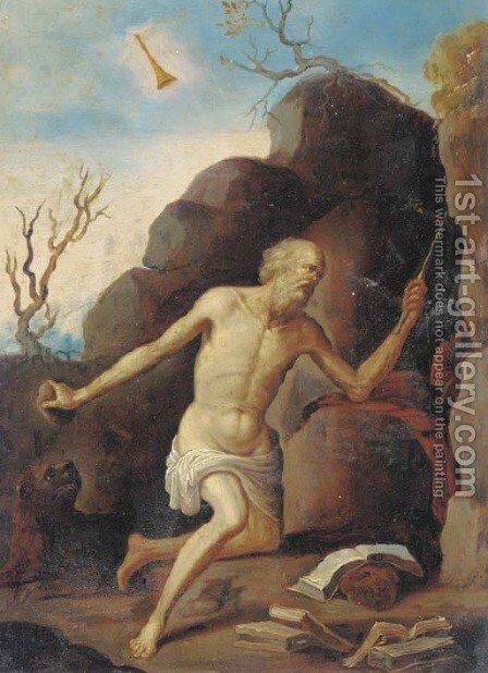 Saint Jerome in the wilderness by (after) Giovanni Francesco Guercino (BARBIERI) - Reproduction Oil Painting