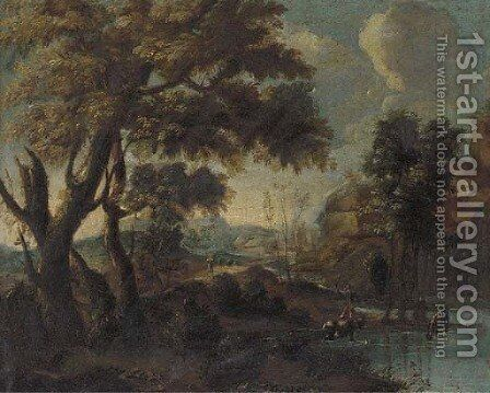A mountainous river landscape with a herdsman watering his cattle by (after) Giovanni Francesco Grimaldi - Reproduction Oil Painting