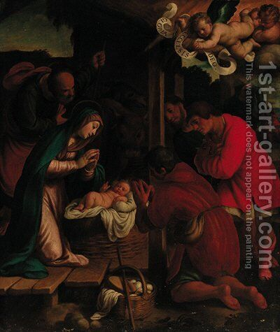 The Adoration of the Shepherds by (after) Giovanni Francesco Guerrieri - Reproduction Oil Painting