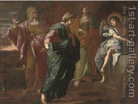 The Three Maries at the Sepulchre by (after) Giovanni Francesco Romanelli - Reproduction Oil Painting