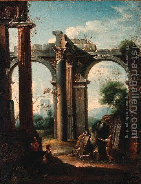 Grave diggers amongst classical ruins by (after) Giovanni Ghisolfi - Reproduction Oil Painting