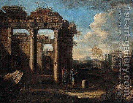 Scholars conversing amongst classical ruins by (after) Giovanni Ghisolfi - Reproduction Oil Painting