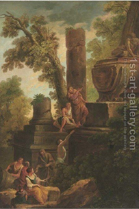 A capriccio of a tomb with onlookers by (after) Giovanni Paolo Panini - Reproduction Oil Painting