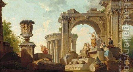 A capriccio of classical ruins with a sibyl predicting by (after) Giovanni Paolo Panini - Reproduction Oil Painting