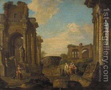 A capriccio of classical ruins with figures conversing by (after) Giovanni Paolo Panini - Reproduction Oil Painting