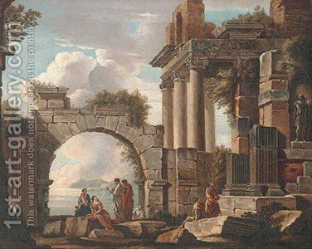 A capriccio of classical ruins with figures conversing, a lake beyond by (after) Giovanni Paolo Panini - Reproduction Oil Painting