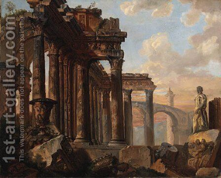A capriccio of classical ruins with the Farnese Hercules by (after) Giovanni Paolo Panini - Reproduction Oil Painting