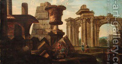 Figures amongst classical ruins by (after) Giovanni Paolo Panini - Reproduction Oil Painting