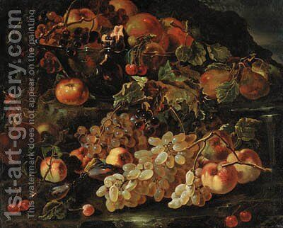 Grapes, apples and pomegranates in a glass bowl with other fruit on a rocky bank by (after) Giovanni Paolo Spadino - Reproduction Oil Painting