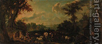 A milkmaid with cattle and sheep in an extensive wooded river landscape by (after) Giuseppe Gambarini - Reproduction Oil Painting