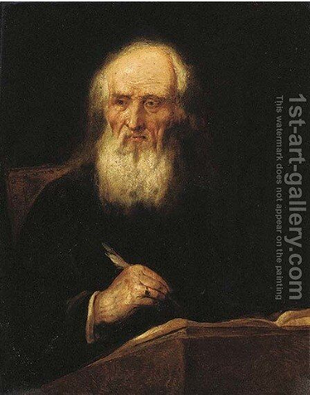 Portrait of an elderly man, seated half-length, writing in a book by (after) Giuseppe Nogari - Reproduction Oil Painting