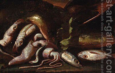 Fish and a crayfish on a coastline by (after) Giuseppe Recco - Reproduction Oil Painting