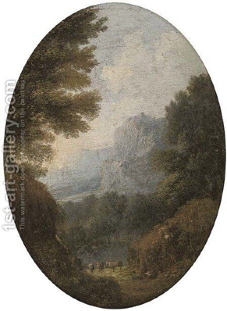 A mountainous landscape with cattle; and A river valley landscape with a bridge by (after) Giuseppe Zais - Reproduction Oil Painting
