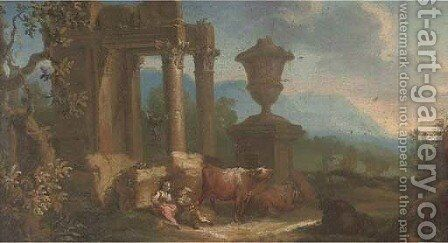 Drovers and their cattle resting by classical ruins by (after) Giuseppe Zais - Reproduction Oil Painting