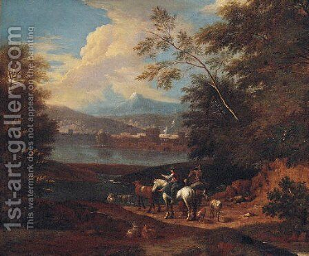 Drovers by a river, a town and mountains beyond by (after) Giuseppe Zais - Reproduction Oil Painting