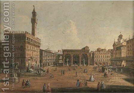 The Piazza della Signoria Florence, looking towards the Loggia dei Lanzi by (after) Giuseppe Zocchi - Reproduction Oil Painting