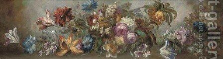 Roses, tulips, carnations and other flowers in a clearing by (after) Giussepe Lavagna - Reproduction Oil Painting