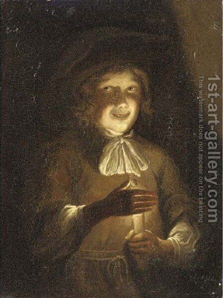 A boy holding a candle by (after) Godfried Schalcken - Reproduction Oil Painting