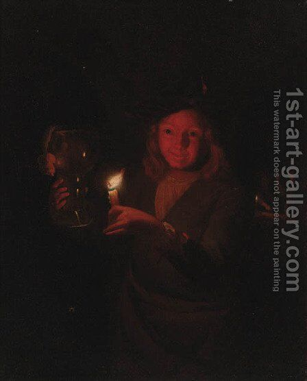 A boy holding a roemer by candlelight by (after) Godfried Schalcken - Reproduction Oil Painting