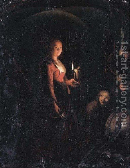 A serving maid and a boy by candlelight by (after) Godfried Schalcken - Reproduction Oil Painting