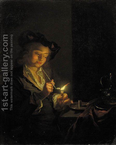 A youth seated by a table lighting a pipe with a candle by (after) Godfried Schalcken - Reproduction Oil Painting