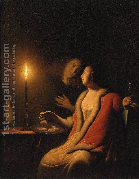 A Gentleman making advances on a Lady by Candlelight by (after) Godfried Schalcken - Reproduction Oil Painting