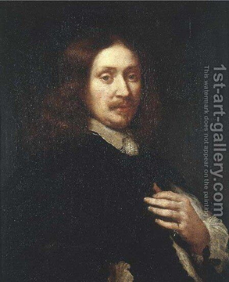 Portrait of a gentleman, half-length, wearing black costume by (after) Govert Teunisz. Flinck - Reproduction Oil Painting