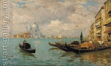 A distant view of Santa Maria della Salute, Venice, with Gondolas in the foreground by (after) Guglielmo Ciardi - Reproduction Oil Painting