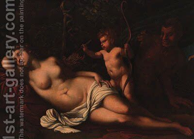 Venus sleeping in a forest with a putto holding arrows, a satyr looking on by (after) Guido Cagnacci - Reproduction Oil Painting