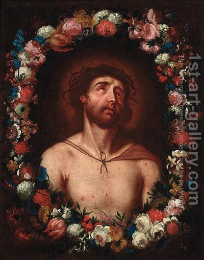 Christ crowned with thorns within a floral surround by (after) Guido Reni - Reproduction Oil Painting