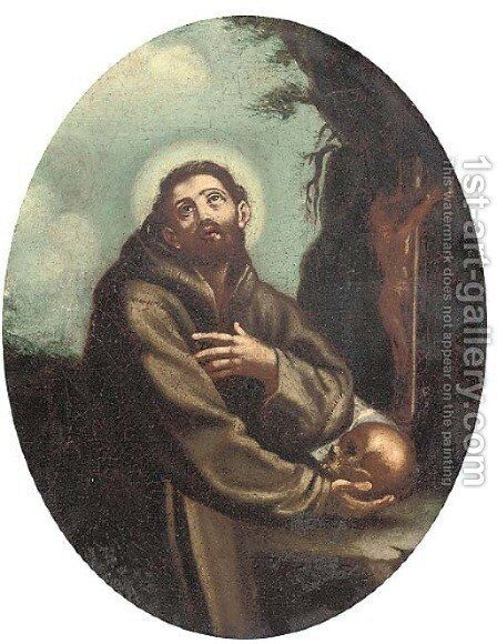 St. Francis holding a skull by (after) Guido Reni - Reproduction Oil Painting