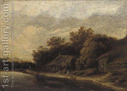 A river landscape with peasants by cottages by (after) Guillaum Dubois - Reproduction Oil Painting
