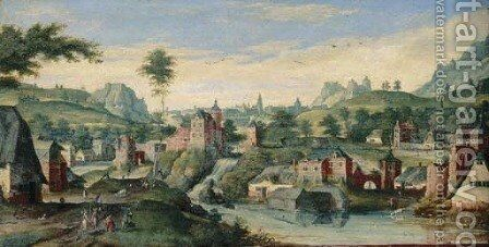 An extensive landscape with Abraham and the three Angels by (after) Hans Bol - Reproduction Oil Painting
