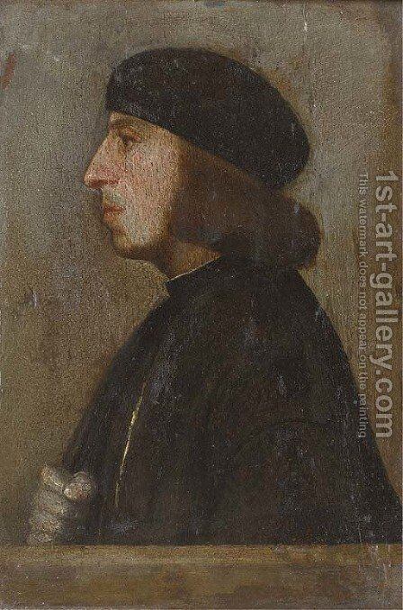 Portrait of a gentleman, bust-length, in profile by (after) Holbein the Younger, Hans - Reproduction Oil Painting