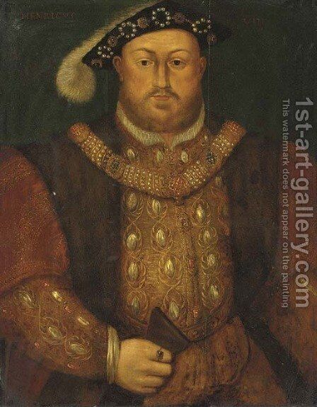 Portrait of Henry VIII (1491-1547), half-length, in a fur-trimmed coat, jeweled doublet and chain by (after) Holbein the Younger, Hans - Reproduction Oil Painting