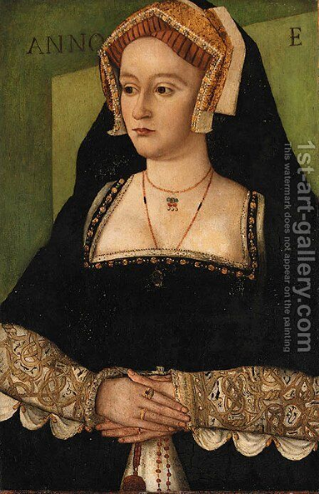 Portrait of Elizabeth Hart, of Lullingstone Castle, Kent, three-quarter-length, in a black with white dress with brocaded sleeves by (after) Holbein the Younger, Hans - Reproduction Oil Painting