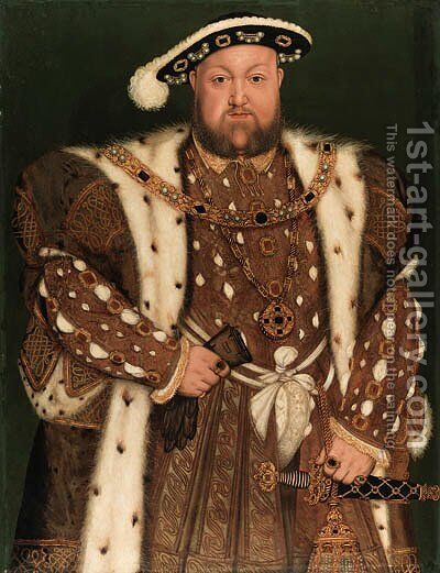 Portrait of King Henry VIII (1491-1547), three-quarter-length, in an ermine-lined brocaded cloak by (after) Holbein the Younger, Hans - Reproduction Oil Painting