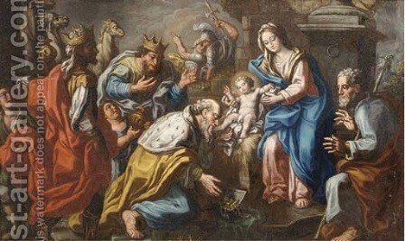 The Adoration of the Magi 3 by (after) Hans I Rottenhammer - Reproduction Oil Painting
