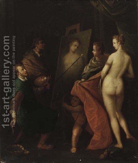 An Allegory of the Arts the interior of an artist's studio with a model posing by (after) Hans Von Aachen - Reproduction Oil Painting