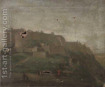 Figures before a Castle, thought to be Edinburgh by (after) Hendrick Danckerts - Reproduction Oil Painting