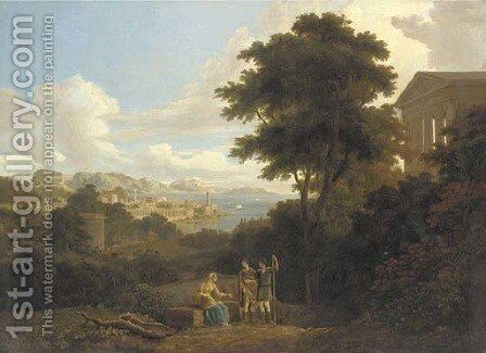 A classical landscape with figures conversing on a hilltop near a temple, a coastal town beyond by (after) Hendrik Frans Van Lint - Reproduction Oil Painting