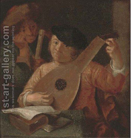 A lute player and a flute player in an interior by (after) Hendrick Terbrugghen - Reproduction Oil Painting