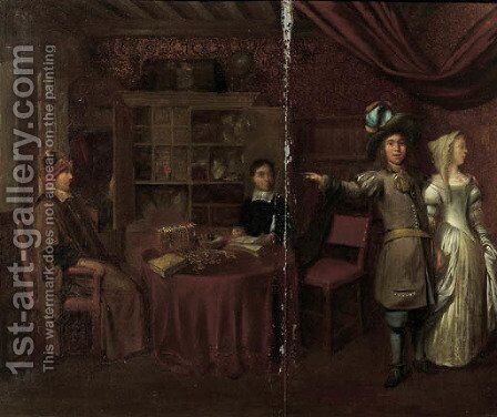 An elegant couple at a jewellery shop by (after) Hendrick Van Der Burgh - Reproduction Oil Painting