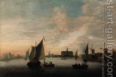 Shipping on the Haarlemmermeer by (after) Hendrik De Meyer - Reproduction Oil Painting