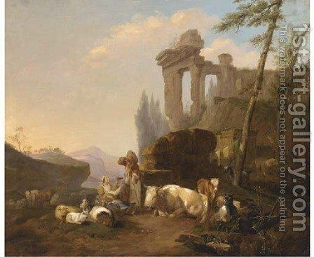 A classical landscape with a herdsman and his family resting by a fountain with their cattle and goats by (after) Hendrik Mommers - Reproduction Oil Painting