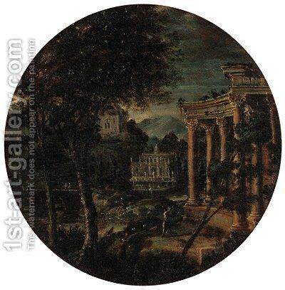 Figures before classical ruins in an extensive landscape by (after) Hendrik Frans Van Lint - Reproduction Oil Painting